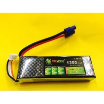 LION POWER LIPO 20C 11.1V 1300mAh READ SAFETY WARNING BEFORE USE 93.4 X 28.3 X 16.1mm 85gr<br />FITTED WITH EC3
