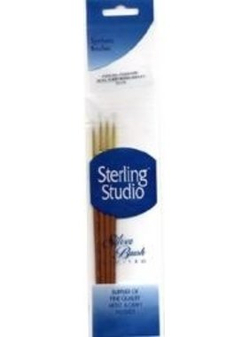 STERLING STUDIO SS-115 STERLING STUDIO 4 PIECE SYNTHETIC BRUSH SET DETAIL (3) ROUND 10/0, 5/0 SPOTTER 20/0 10/0