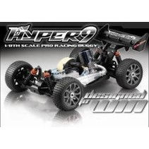 HOBAO HYPER 9  PURE COMPETITION  1/8 OFF ROAD GAS POWERED RACING CAR  INCLUDES 21 ENGINE, WHEEL RADIO, METAL GEARED 102 SERVO AND H7 SHOCK SETS.