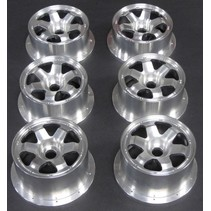 DDM BILLET SIX ALUMINIUM BILLET WHEELS SIZE A HPI BAJA FRONT AND LOSI 5 FRONT AND REAR