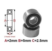 BEARINGS BEARING  5 x 2 x 2.5 mm ( 2RS ) RUBBER SEALED     MR52-2RS