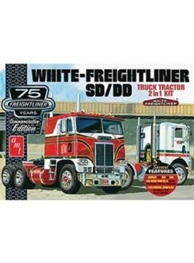 AMT AMT WHITE FREIGHTLINER SD/DD TRUCK TRACTOR 2 IN 1 KIT  DUAL DRIVE 1/25