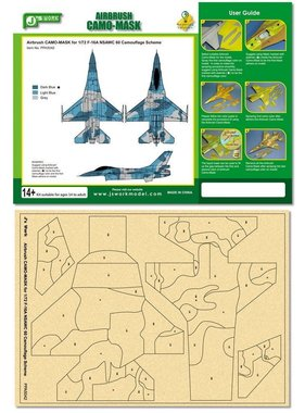 ACE IMPORTS J's Work Airbrush Camo-Mask for 1/72 F-16A NSAWC 60 Camouflage Scheme