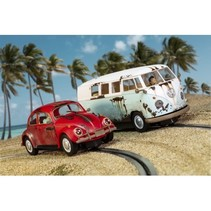 SCALEXTRIC CARS VW Beetle & Camper Van - West Coast Rats Twin Pack WEATHERED RUSTY LOOK  PRE ORDER DUE SEPT 2018