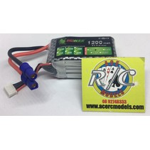 LION POWER LIPO 25C 11.1V 1200mAh READ SAFETY WARNING BEFORE USE 30.0 X 60.0 X 30.0mm 100gr<br />FITTED WITH EC3