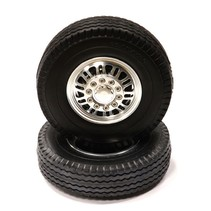 INTEGY BILLET MACHINED ALLOY FRONT WHEEL TYPE III TIRE SET FOR TAMIYA 1/14 SCALE TRACTOR TRUCKS