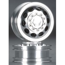 INTEGY BILLET MACHINED ALLOY FRONT WHEEL TYPE I FOR TAMIYA 1/14 SCALE TRACTOR TRUCKS  C23953 SILVER