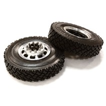 INTEGY MACHINED ALLOY T5 FRONT WHEEL AND TIRE SET FOR TAMIYA 1/14 TRUCK BLACK