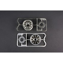 TAMIYA CHROME PLATED WHEELS 30mm FRONT SUIT TAMIYA 1/14 TRACTOR TRUCK ( SUPER SINGLES )  56520