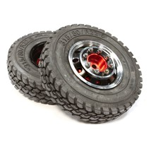 INTEGY Alloy T4 Front Wheel & T1 Tire Set for Tamiya 1/14 Scale Tractor Trucks C25590BLACK