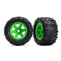 TRAXXAS TIRES & WHEELS ASSEMBLED GLUED GREEN WHEELS, Talon EXT tires, foam inserts (2) (17mm splined) (TSM rated)