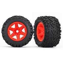 TRAXXAS TIRES & WHEELS ASSEMBLED GLUED ORANGE WHEELS, Talon EXT tires, foam inserts (2) (17mm splined) (TSM rated)