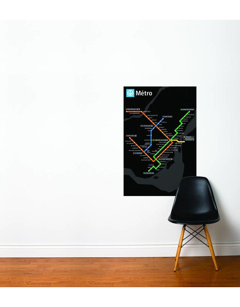METRO MAP DECAL - Black Métro map