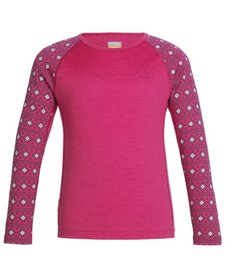 Icebreaker Kids' Oasis Long Sleeve Crewe Align Pop Pink -603 (16/17)