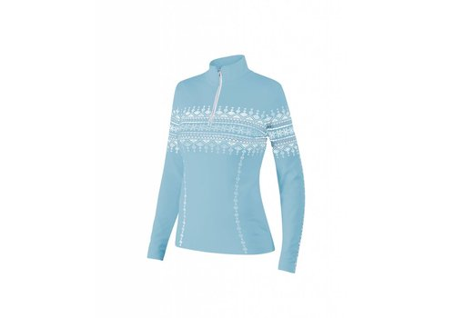 NEWLAND Newland Womens Lusia T-Neck 1/2 Zip Sweater Light Blue/White -165 (17/18)