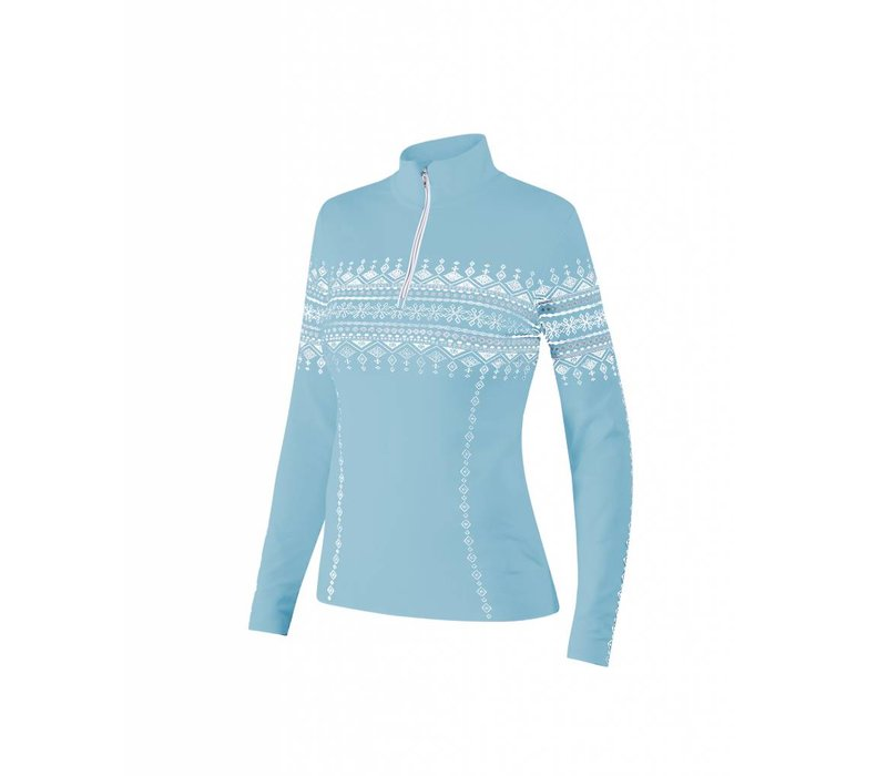 Newland Womens Lusia T-Neck 1/2 Zip Sweater Light Blue/White -165 (17/18)