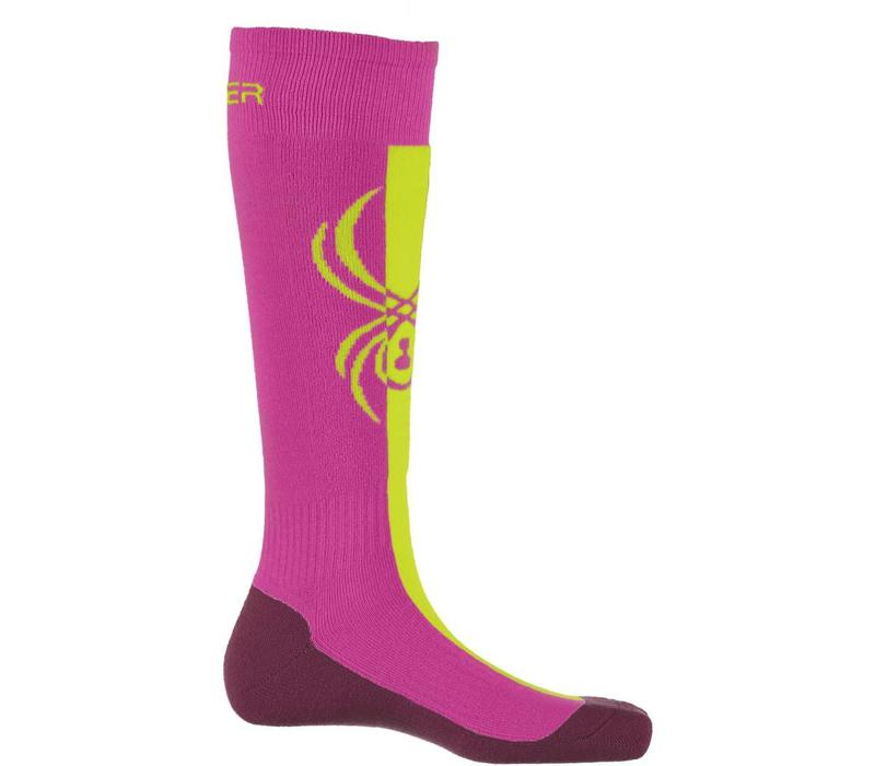 Spyder Girls Swerve Sock 678 Raspberry/Bryte Yellow/Amaranth - (17/18)