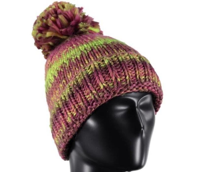 Spyder Girls Twisty Hat 678 Raspberry/Amaranth/Bryte Yellow - (17/18) ONE SIZE