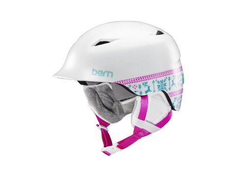 BERN Bern Girls Camina Helmet Satin White Fair Isle - (17/18)