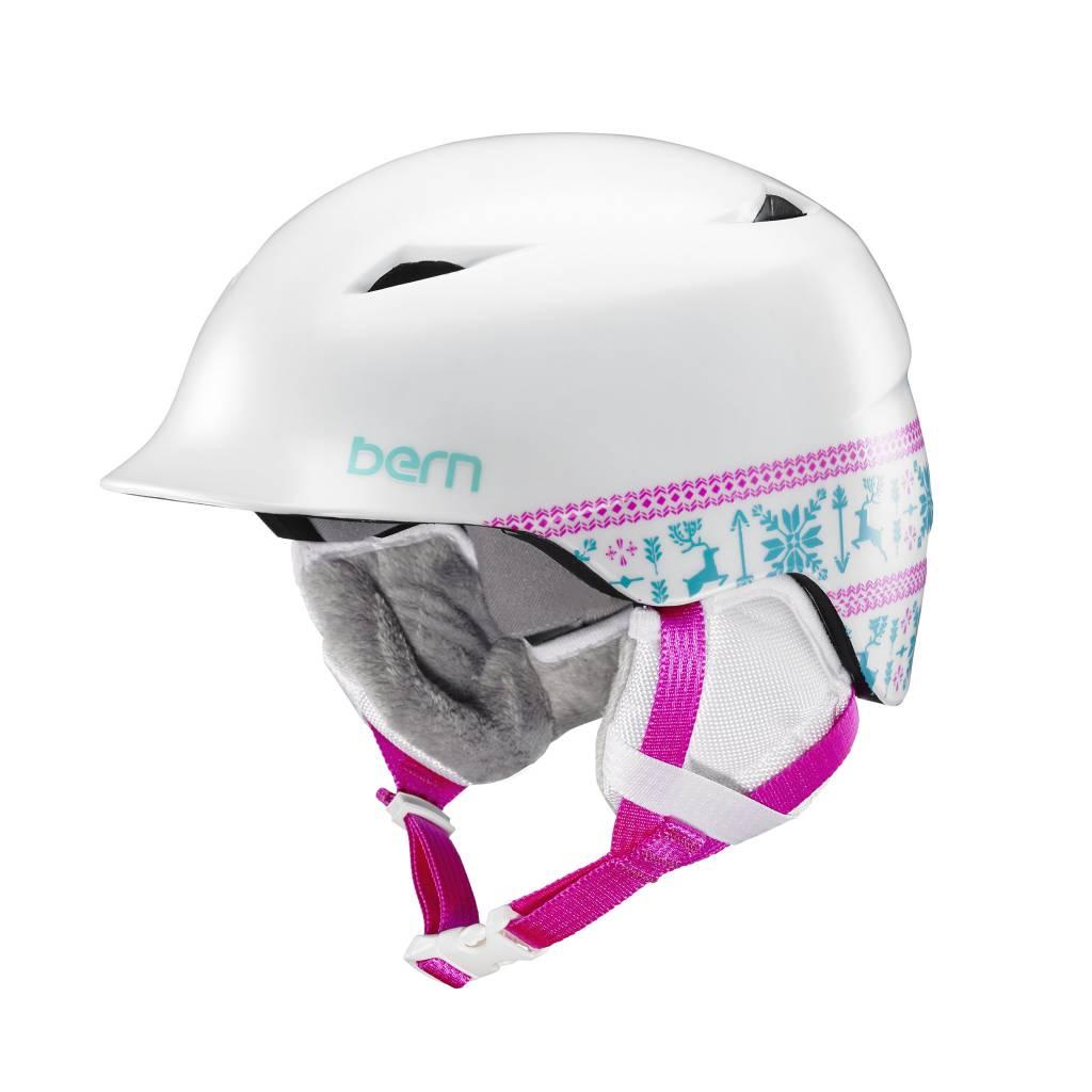 BERN Bern Girls Camina Helmet Satin White Fair Isle - (17/18)