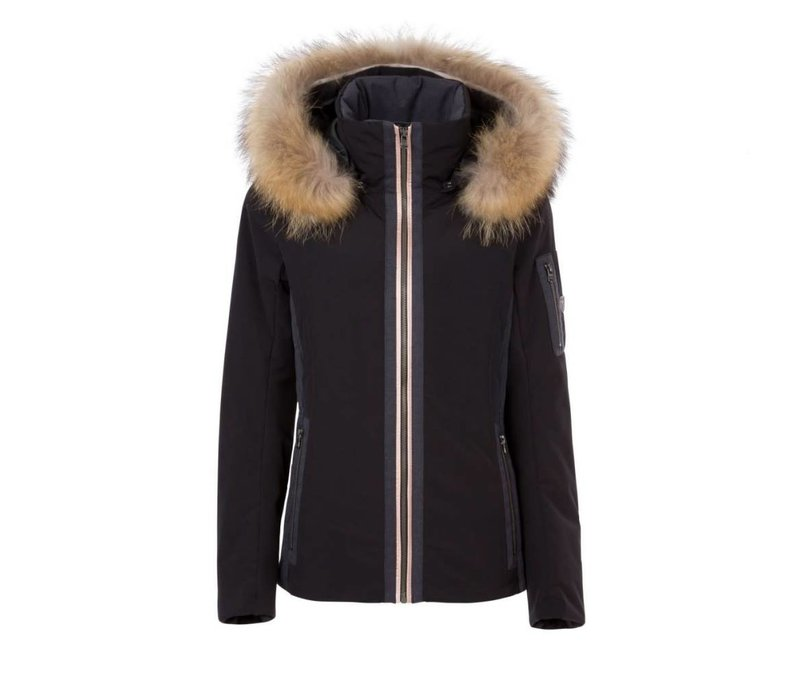 Fera Womens Danielle Parka With Faux Fur Black -001 (17/18)