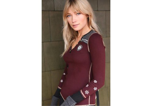 ALP-N-ROCK Alp-N-Rock Vintage Ski Ladies Henley Shirt Dark Berry -dby (17/18)
