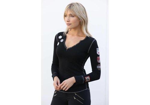 ALP-N-ROCK Alp-N-Rock Ski Lift Ladies Henley Shirt Black -blk (17/18)