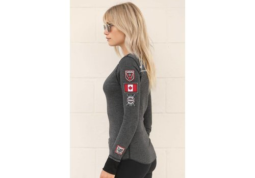 ALP-N-ROCK Alp-N-Rock Team Canada Ladies L/S Crew Shirt Heather Black -hbk (17/18)