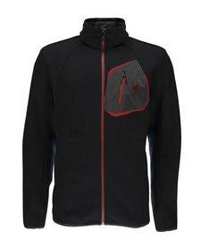 Spyder Mens Paramount Full Zip Mid Wt Hood Stryke Jacket 001 Black/Black/Red - (17/18)