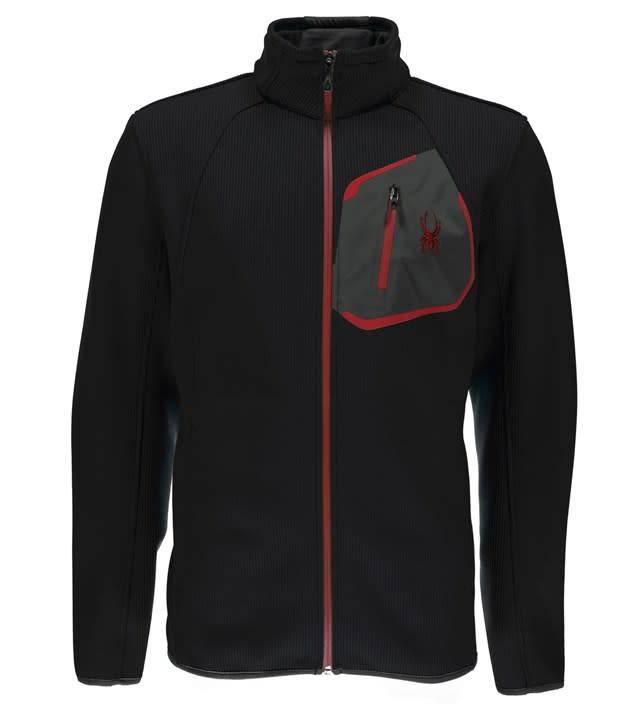 SPYDER Spyder Mens Paramount Full Zip Mid Wt Hood Stryke Jacket 001 Black/Black/Red - (17/18)