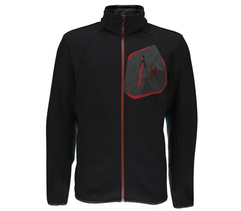 Spyder Mens Paramount Full Zip Mid Wt Hood Stryke Jacket 001 Black/Black/Red - (17/18)