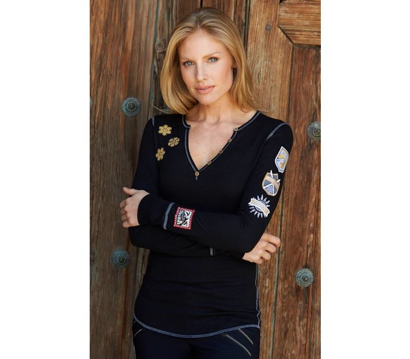 Alp-N-Rock Gondola - Luxe Ladies Henley Shirt Black -Blk (17/18)