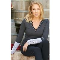 Alp-N-Rock Cheyenne Ladies Henley Knit Cuff Shirt Hbk Body/White -Hbw (17/18)