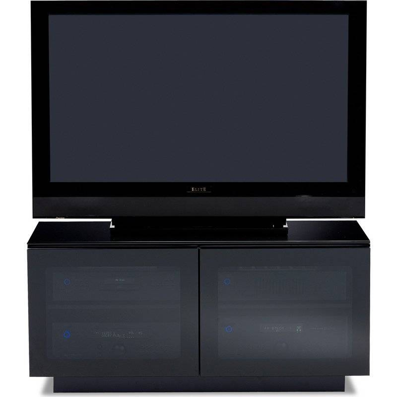 BDI BDI Mirage 8224, TV- Cabinet, Black with Grey tinted glass ...