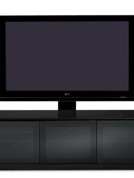 BDI BDI Mirage 8227-2,  TV- Cabinet, Black with Grey tinted glass doors