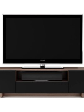 BDI BDI Nora 8239 WL,  TV- Cabinet, Natural Walnut with Black micro-etched glass doors