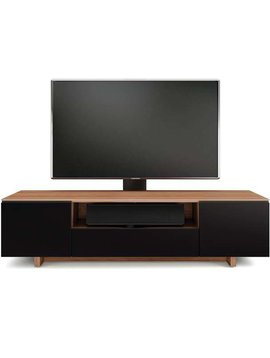 BDI BDI Nora 8239-S WL, TV- Cabinet, Natural Walnut with Black micro-etched glass doors