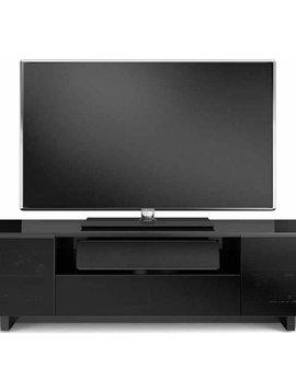 BDI BDI Nora 8239-S B,  TV- Cabinet, Gloss Black with Grey tinted glass doors