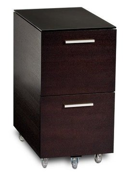 BDI BDI Sequel 6005 CWL, Two Drawer Mobile File Pedestal, Chocolate Stained Walnut
