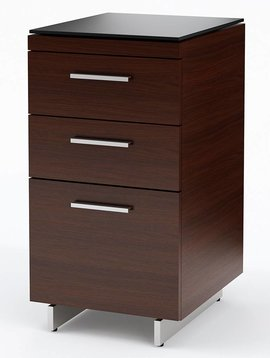 BDI BDI Sequel 6014 CWL, Three Drawer Cabinet, Chocolate Stained Walnut
