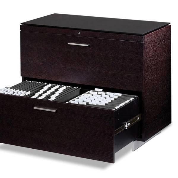 BDI BDI Sequel 6016 ES, Two Drawer Locking Lateral File Cabinet, Espresso  Stained Oak