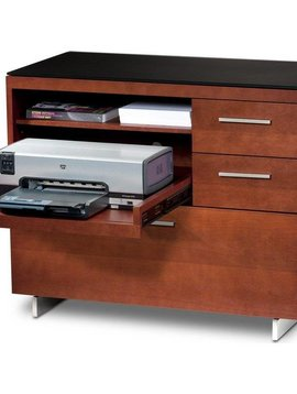 BDI BDI Sequel 6017 CH, Multifunction Cabinet with Two Storage Drawers & Pull-out Printer Tray, Natural Stained Cherry