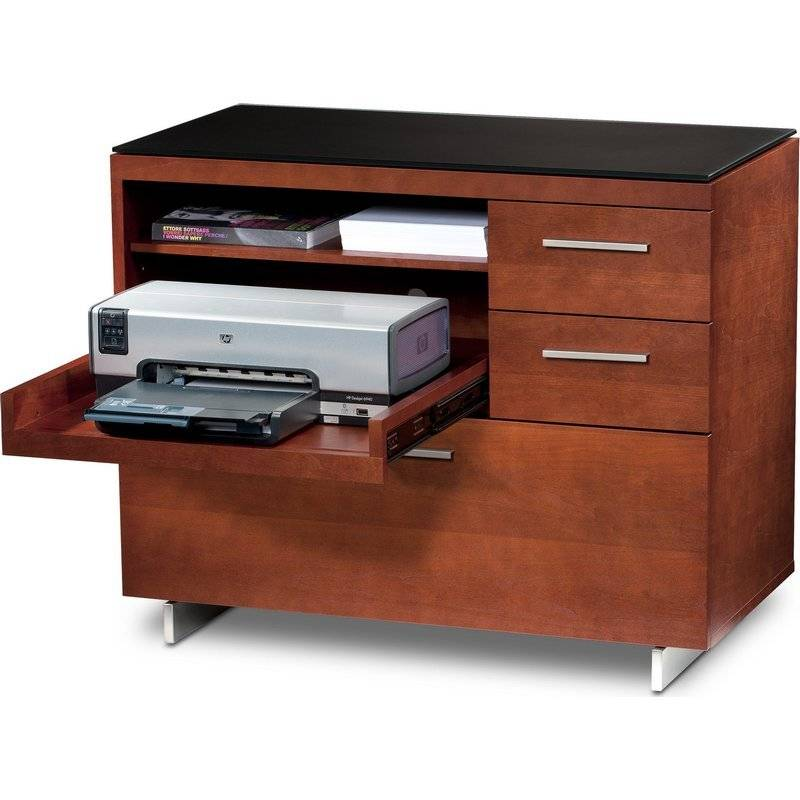 BDI BDI Sequel 6017 CH, Multifunction Cabinet With Two Storage Drawers U0026  Pull Out Printer Tray, Natural Stained Cherry