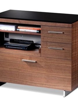 BDI Sequel 6017 WL, Multifunction Cabinet with Two Storage Drawers & Pull-out Printer Tray, Natural Walnut