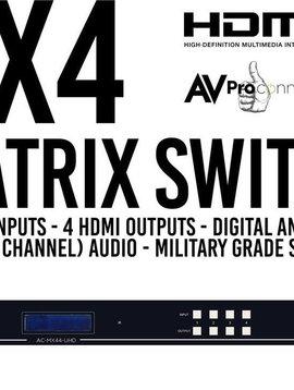 AV Proedge Ultra High Definition 4 x 4 Hdmi Matrix Switch