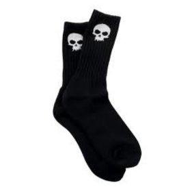 Skate Zero Skull Knee Hi Socks Black