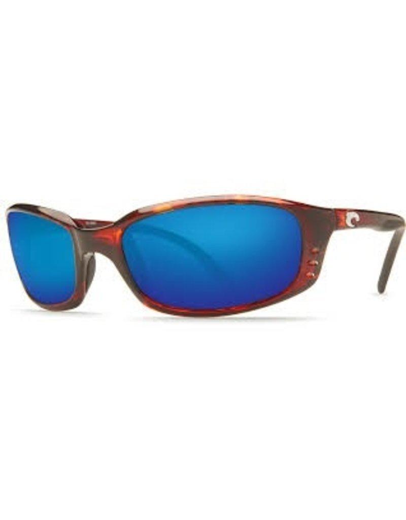 COSTA Costa Del Mar Brine Tortoise Blue Mirror Polarized Glass Sunglasses