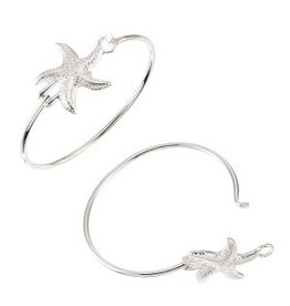 World End Imports Textured Starfish Bangle Bracelet Silver Jewelry