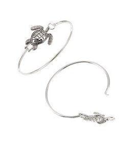 World End Imports Sea Turtle Bangle Bracelet Silver Jewelry