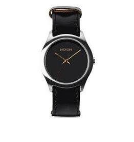 Nixon Nixon Mod Leather Black Silver Gold Watch